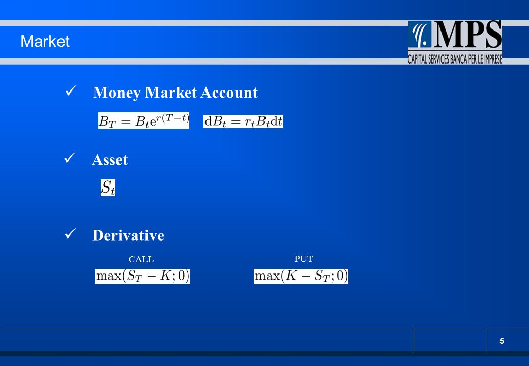 Market Money Market Account Asset Derivative CALL PUT