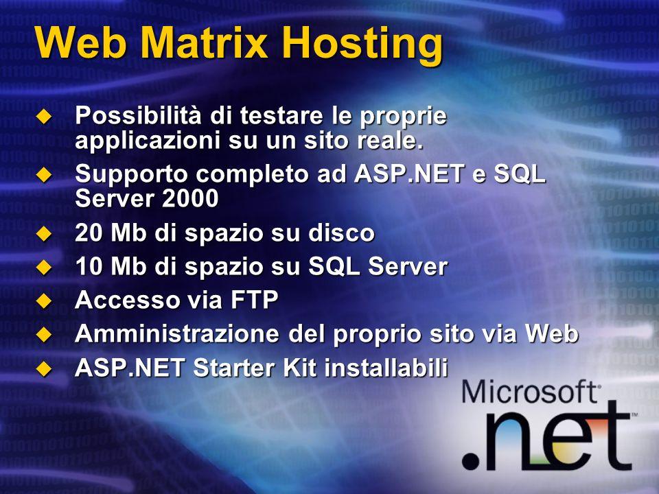 Web Matrix Hosting Possibilità di testare le proprie applicazioni su un sito reale. Supporto completo ad ASP.NET e SQL Server 2000.