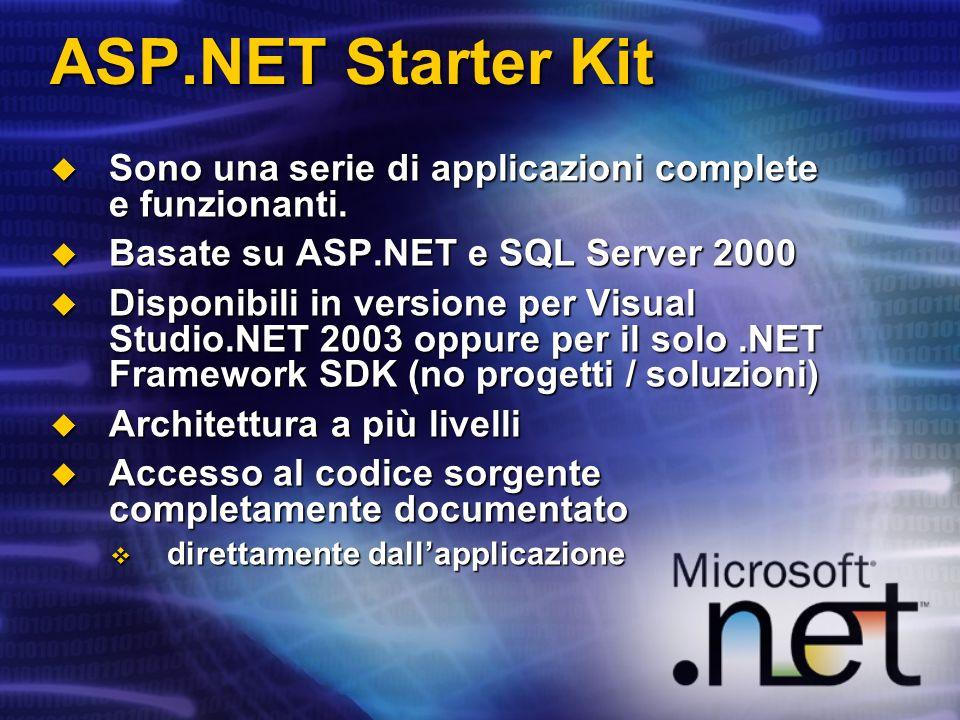 ASP.NET Starter Kit Sono una serie di applicazioni complete e funzionanti. Basate su ASP.NET e SQL Server 2000.