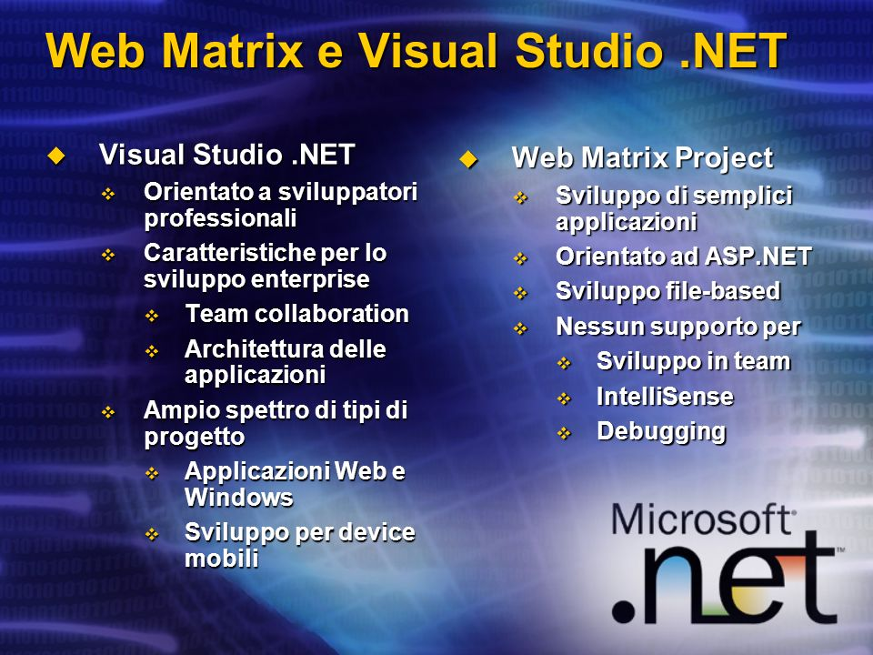 Web Matrix e Visual Studio .NET