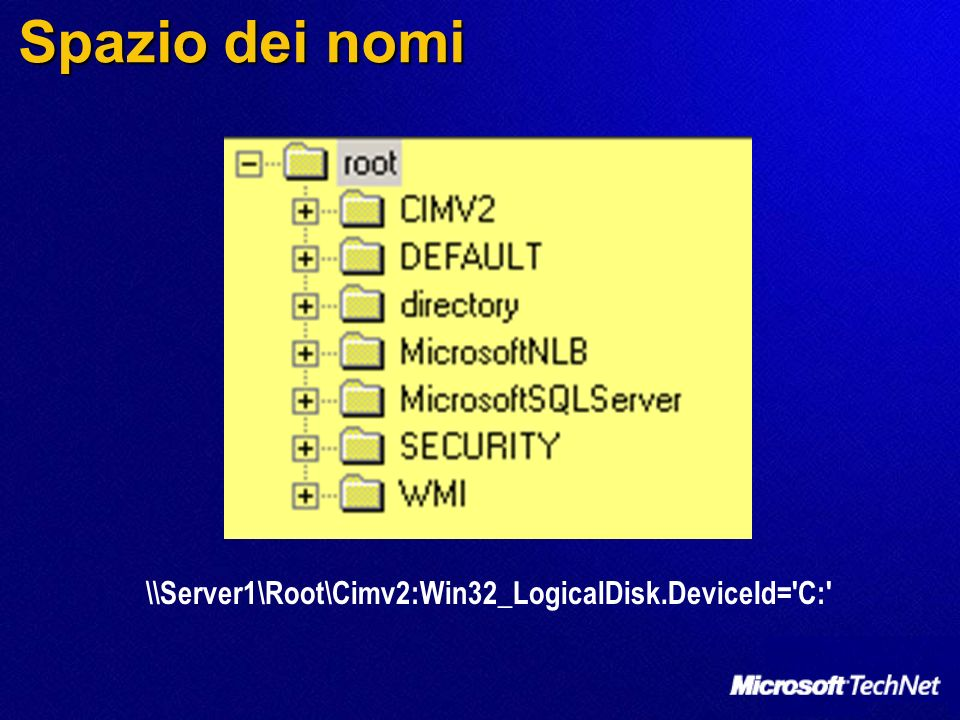 Spazio dei nomi \\Server1\Root\Cimv2:Win32_LogicalDisk.DeviceId= C: