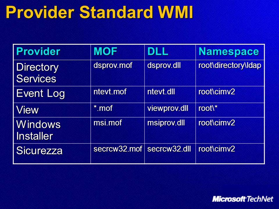 Provider Standard WMI Provider MOF DLL Namespace Directory Services