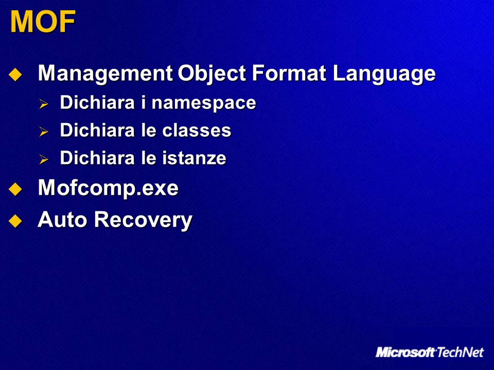 MOF Management Object Format Language Mofcomp.exe Auto Recovery