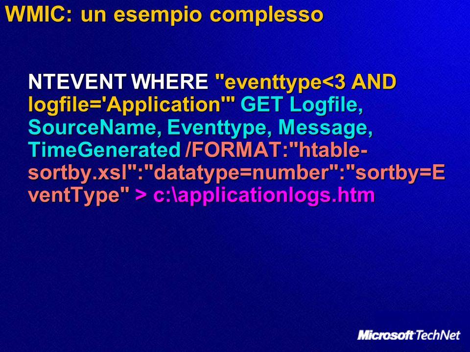 WMIC: un esempio complesso