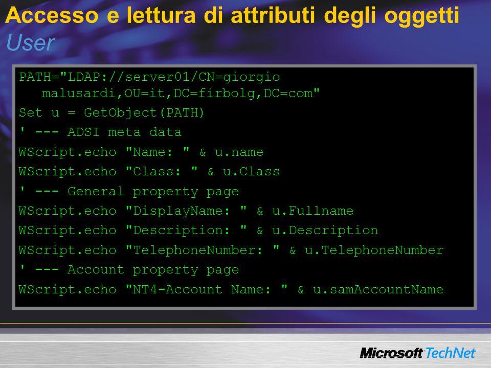 Accesso e lettura di attributi degli oggetti User