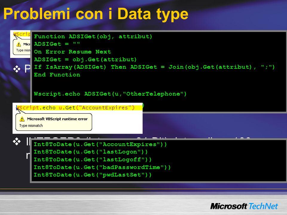 Problemi con i Data type