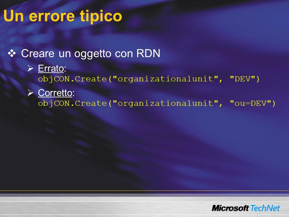 Un errore tipico Creare un oggetto con RDN