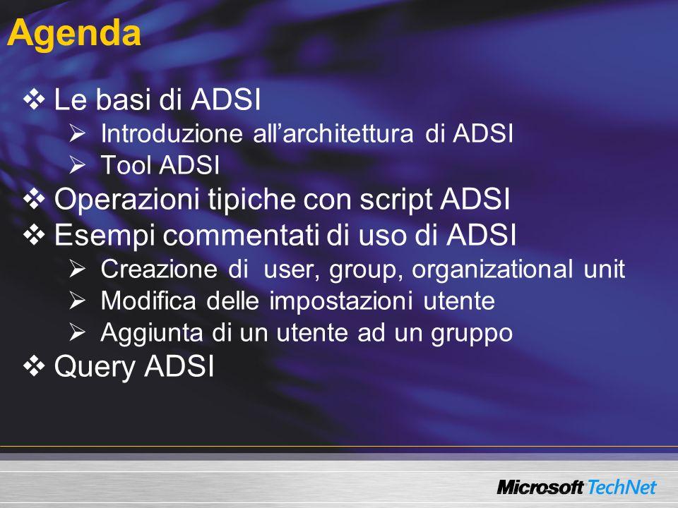 Agenda Le basi di ADSI Operazioni tipiche con script ADSI