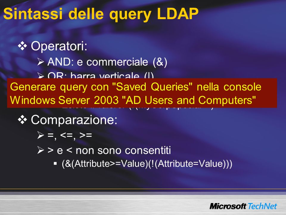 Sintassi delle query LDAP
