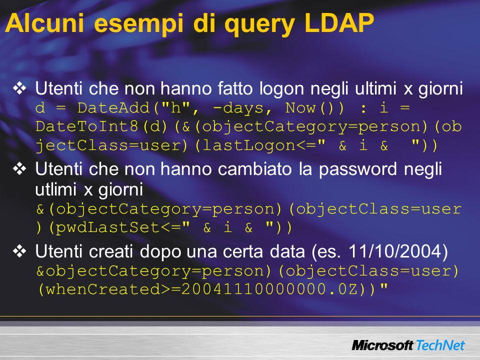 Alcuni esempi di query LDAP