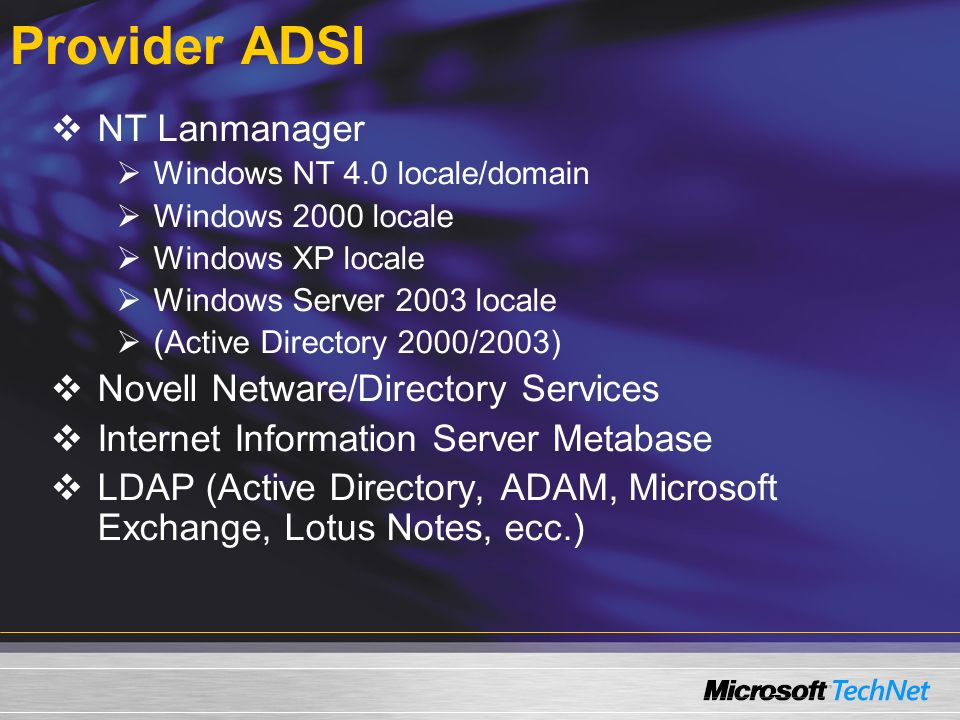 Provider ADSI NT Lanmanager Novell Netware/Directory Services