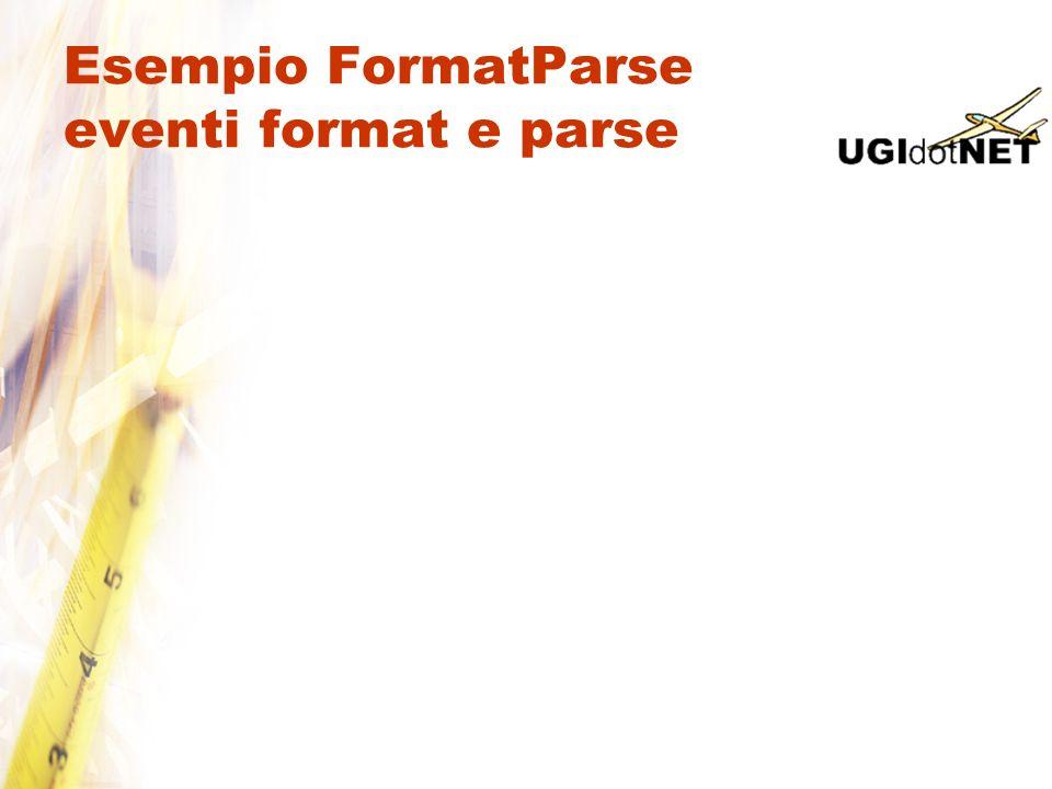 Esempio FormatParse eventi format e parse