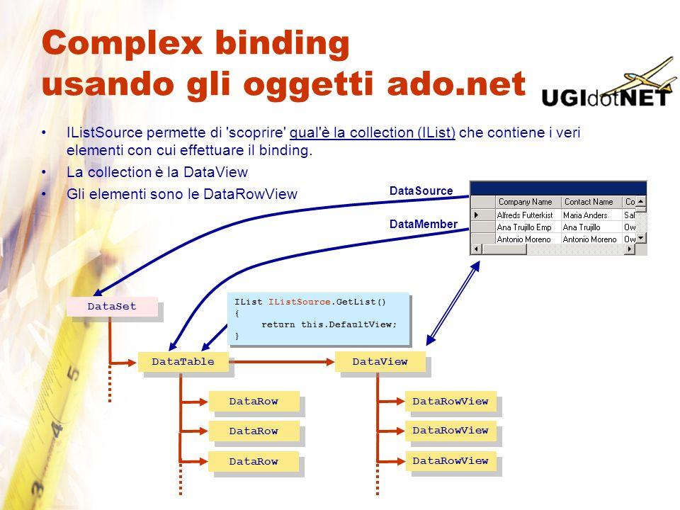 Complex binding usando gli oggetti ado.net