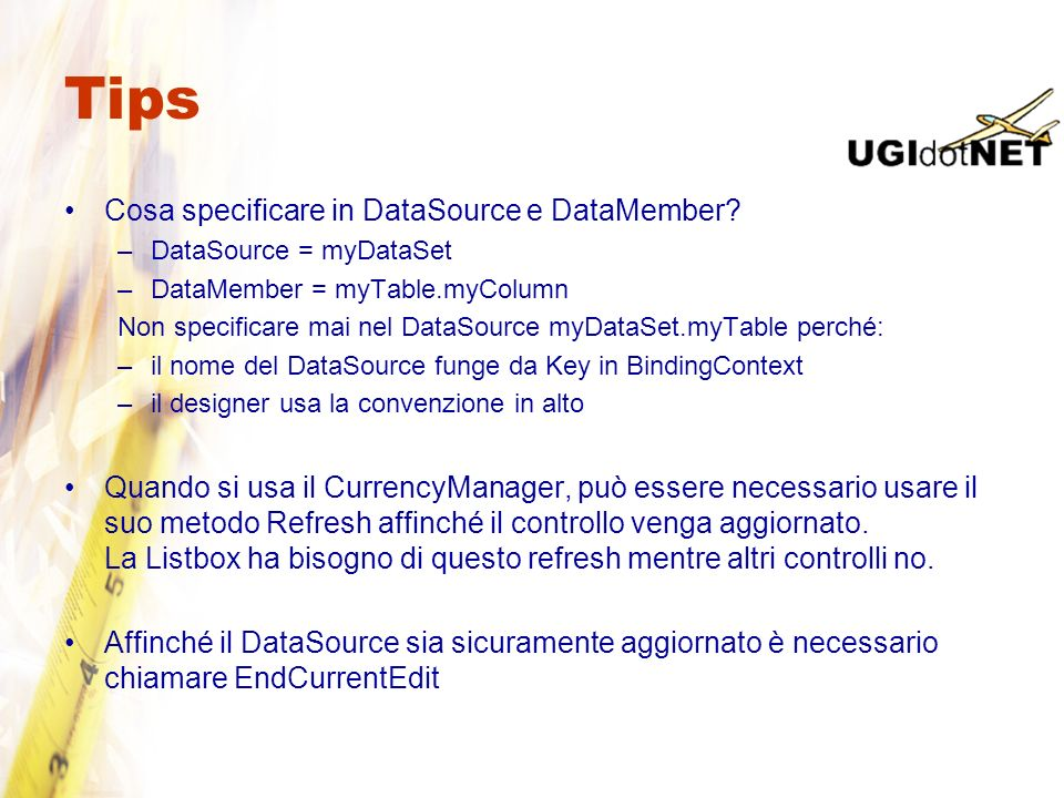 Tips Cosa specificare in DataSource e DataMember
