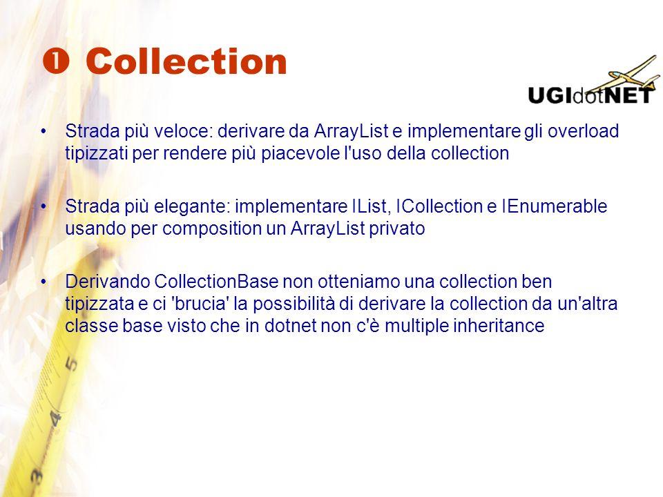  Collection Strada più veloce: derivare da ArrayList e implementare gli overload tipizzati per rendere più piacevole l uso della collection.