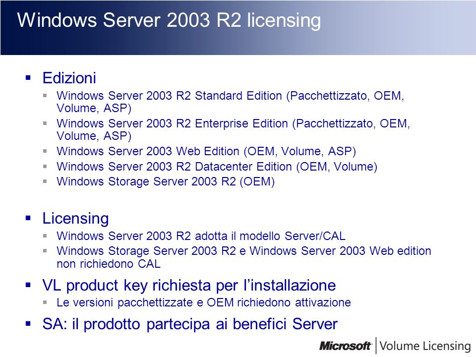 Windows Server 2003 R2 licensing