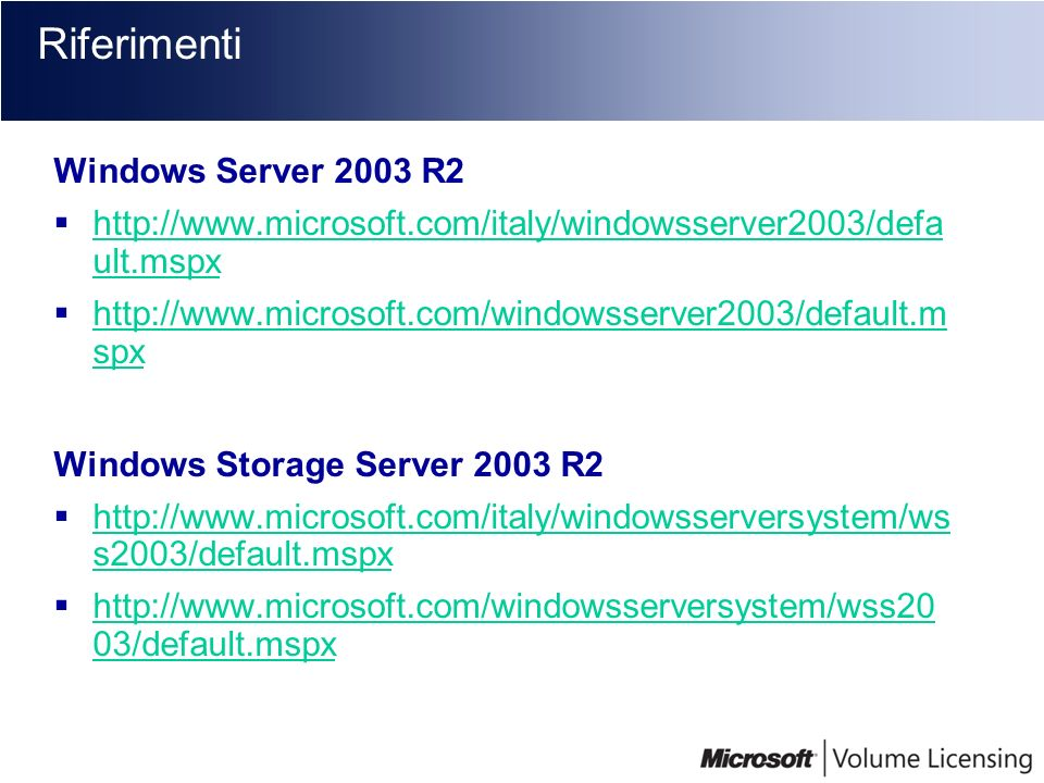 Riferimenti Windows Server 2003 R2