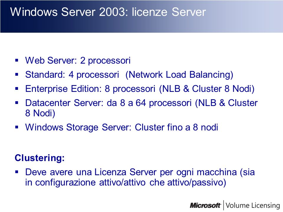 Windows Server 2003: licenze Server
