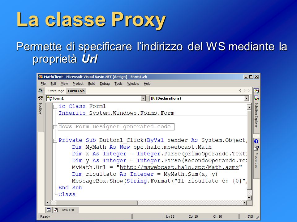 La classe Proxy Permette di specificare l'indirizzo del WS mediante la proprietà Url