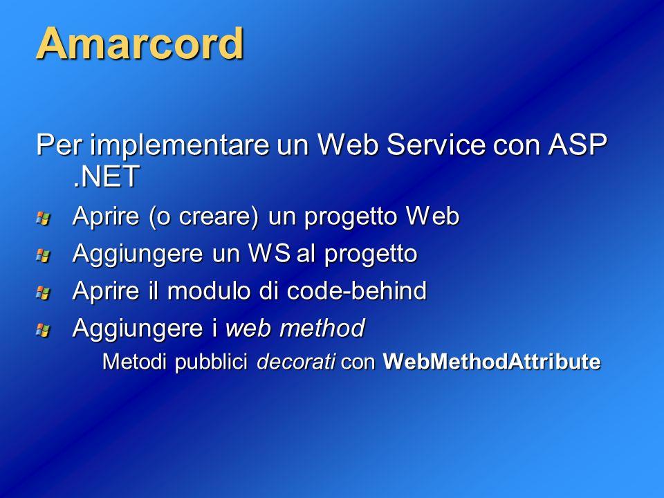 Amarcord Per implementare un Web Service con ASP .NET