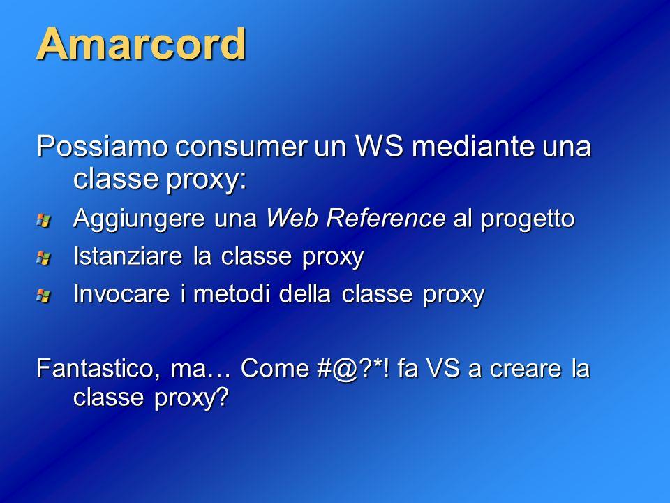 Amarcord Possiamo consumer un WS mediante una classe proxy: