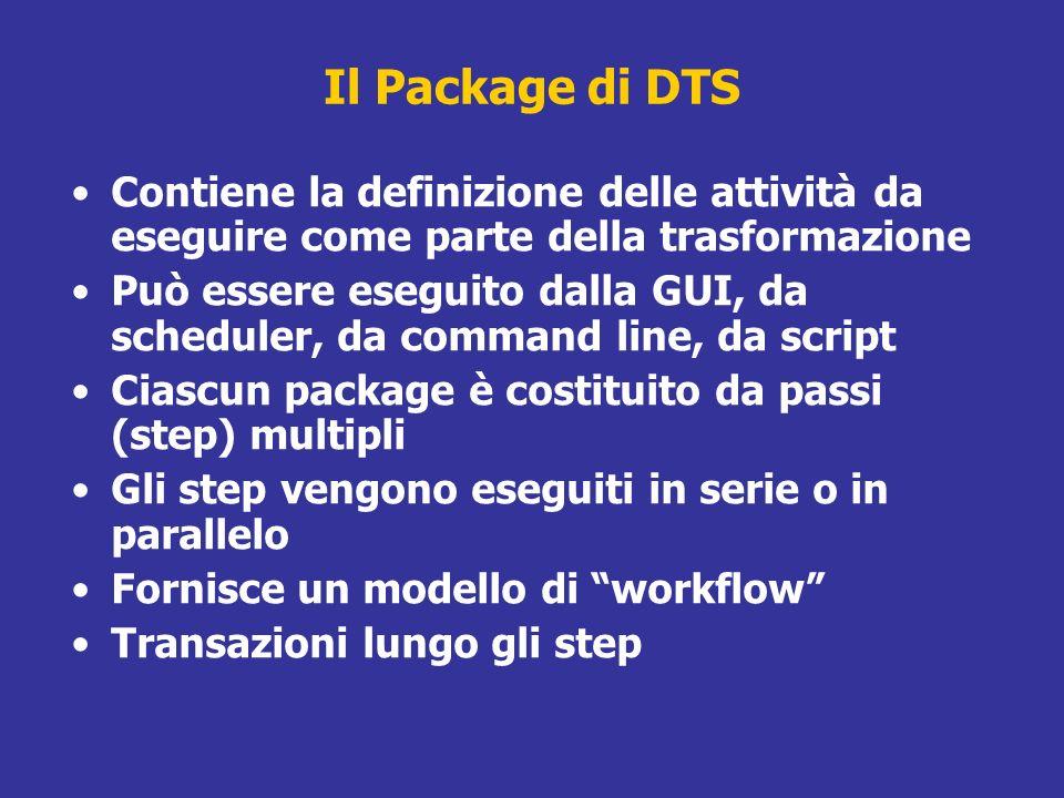 Il Package di DTS Contiene la definizione delle attività da eseguire come parte della trasformazione.