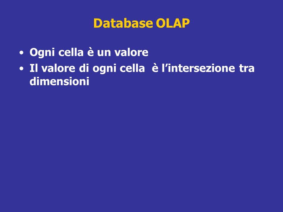 Database OLAP Ogni cella è un valore