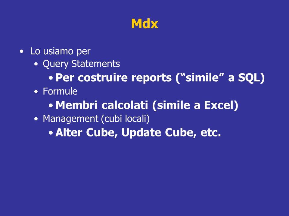 Mdx Per costruire reports ( simile a SQL)