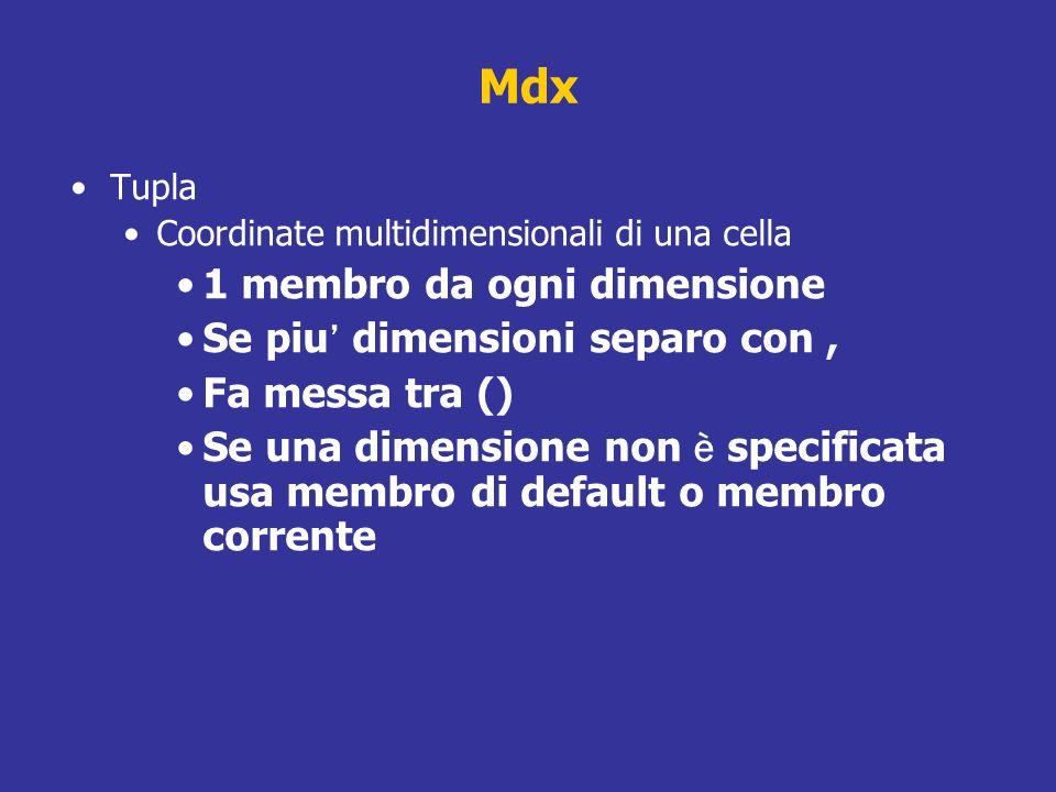 Mdx 1 membro da ogni dimensione Se piu' dimensioni separo con ,