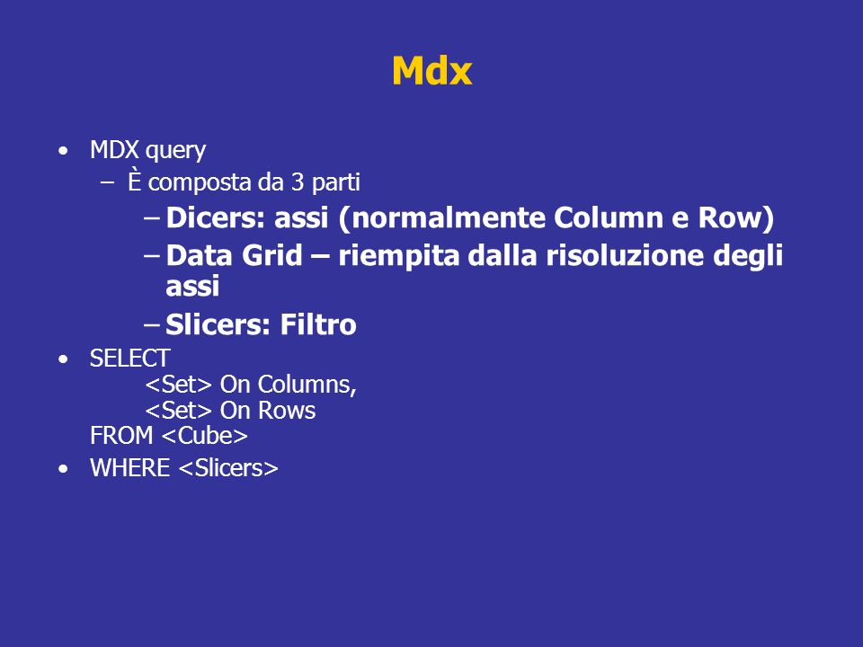Mdx Dicers: assi (normalmente Column e Row)