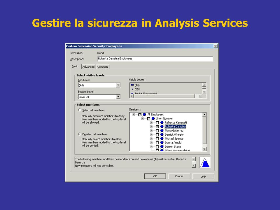 Gestire la sicurezza in Analysis Services