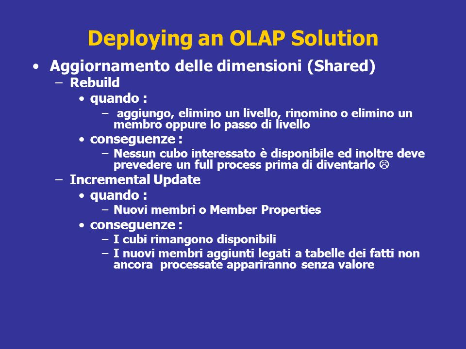 Deploying an OLAP Solution