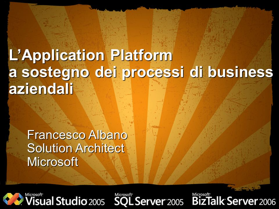 Francesco Albano Solution Architect Microsoft