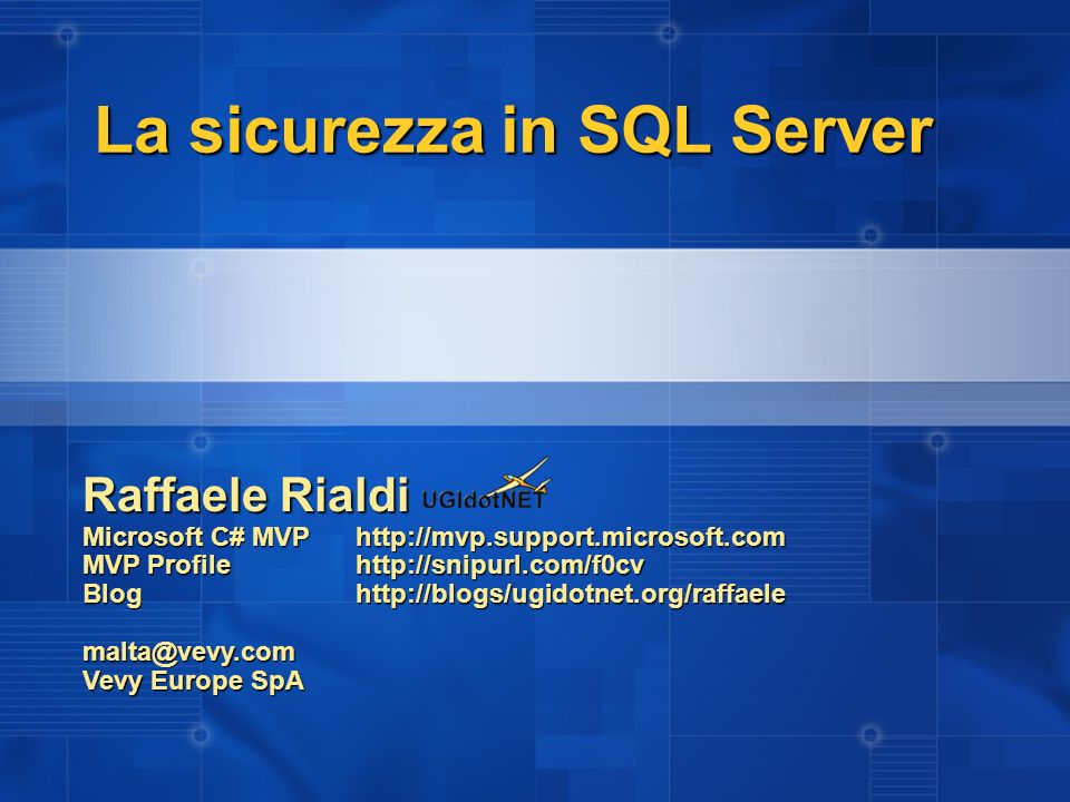 La sicurezza in SQL Server