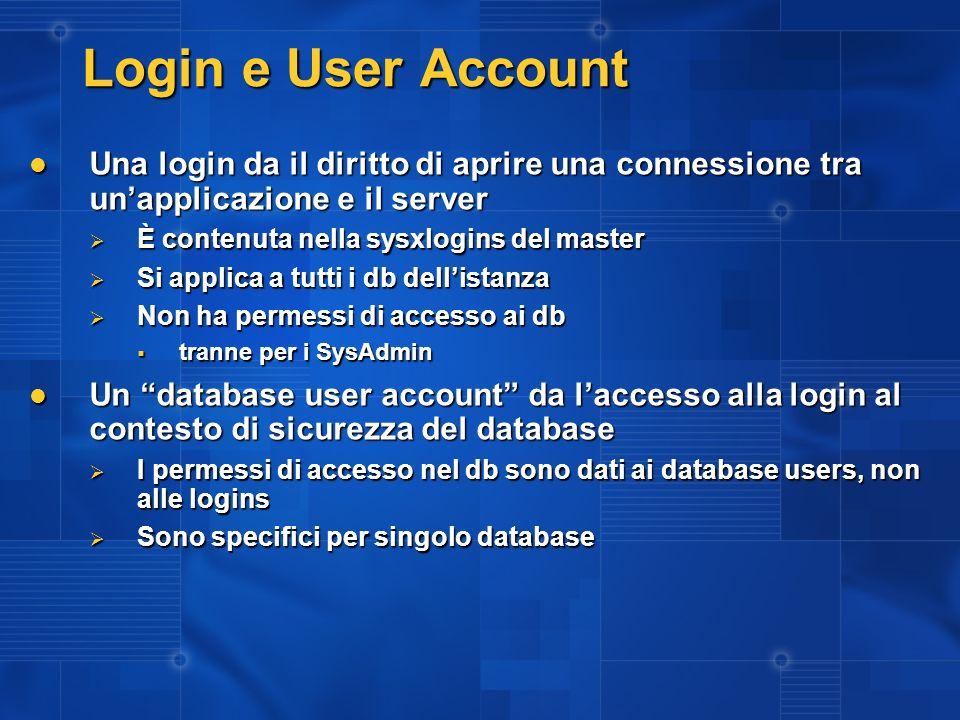 3/27/2017 2:27 AM Login e User Account. Una login da il diritto di aprire una connessione tra un'applicazione e il server.