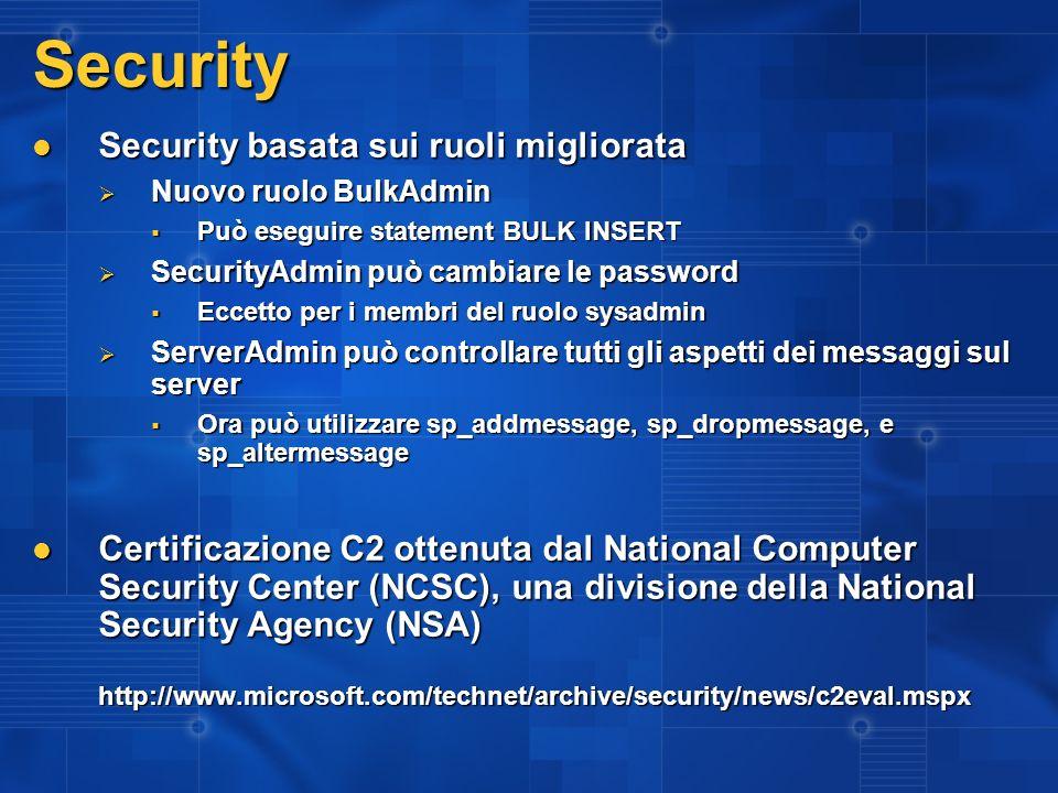 Security Security basata sui ruoli migliorata