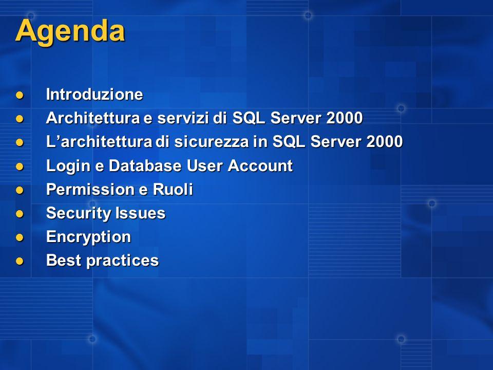 Agenda Introduzione Architettura e servizi di SQL Server 2000