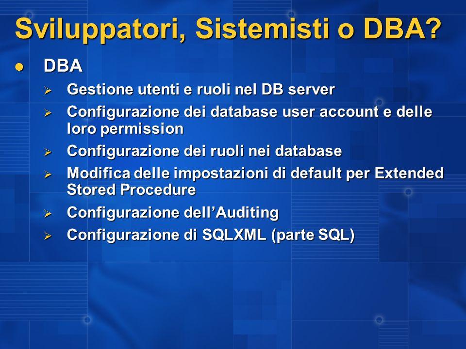 Sviluppatori, Sistemisti o DBA