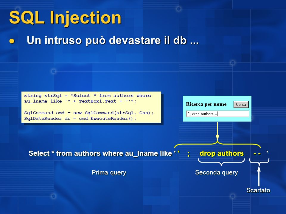 SQL Injection Un intruso può devastare il db ...