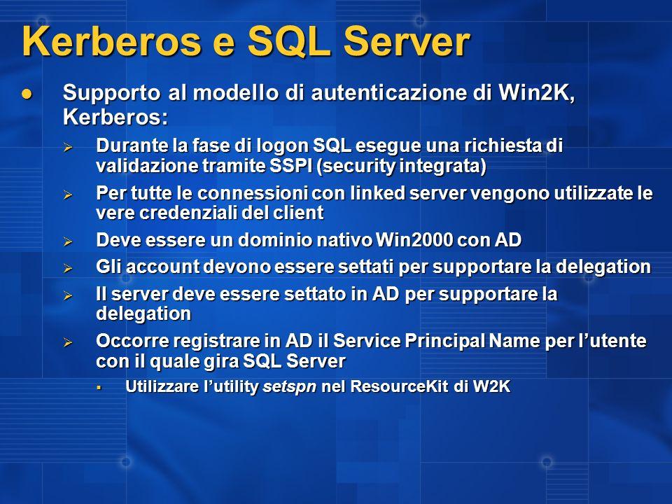3/27/2017 2:27 AM Kerberos e SQL Server. Supporto al modello di autenticazione di Win2K, Kerberos: