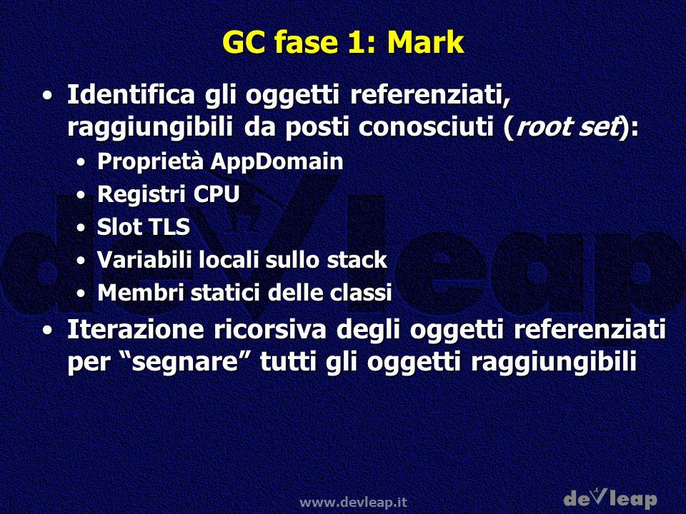 GC fase 1: Mark Identifica gli oggetti referenziati, raggiungibili da posti conosciuti (root set): Proprietà AppDomain.