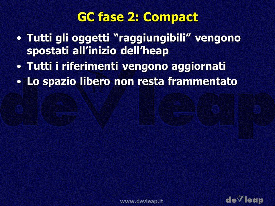 GC fase 2: Compact Tutti gli oggetti raggiungibili vengono spostati all'inizio dell'heap. Tutti i riferimenti vengono aggiornati.