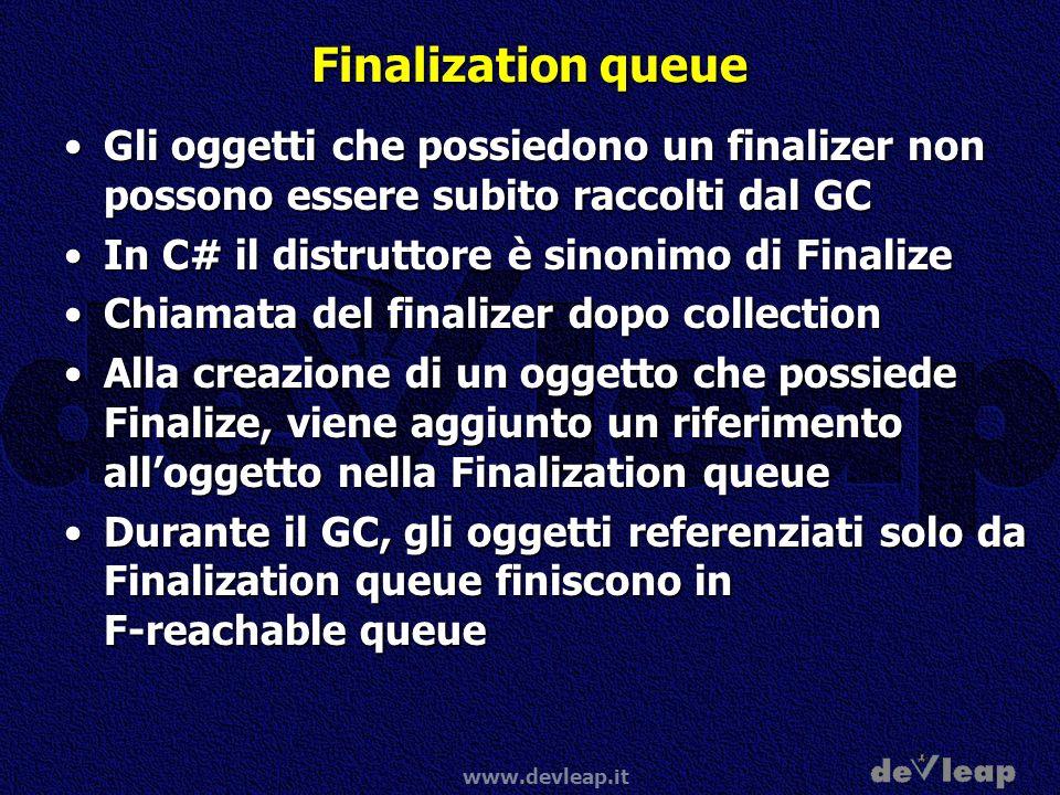 Finalization queue Gli oggetti che possiedono un finalizer non possono essere subito raccolti dal GC.