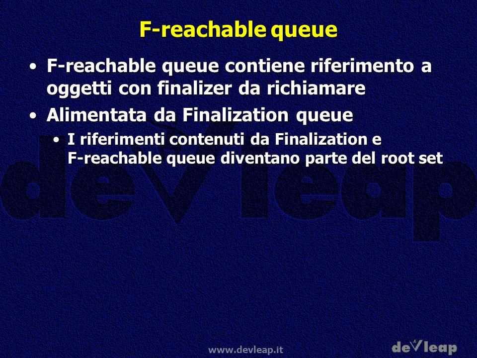 F-reachable queue F-reachable queue contiene riferimento a oggetti con finalizer da richiamare. Alimentata da Finalization queue.