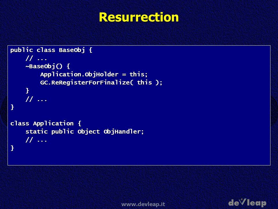 Resurrection public class BaseObj { // ... ~BaseObj() {