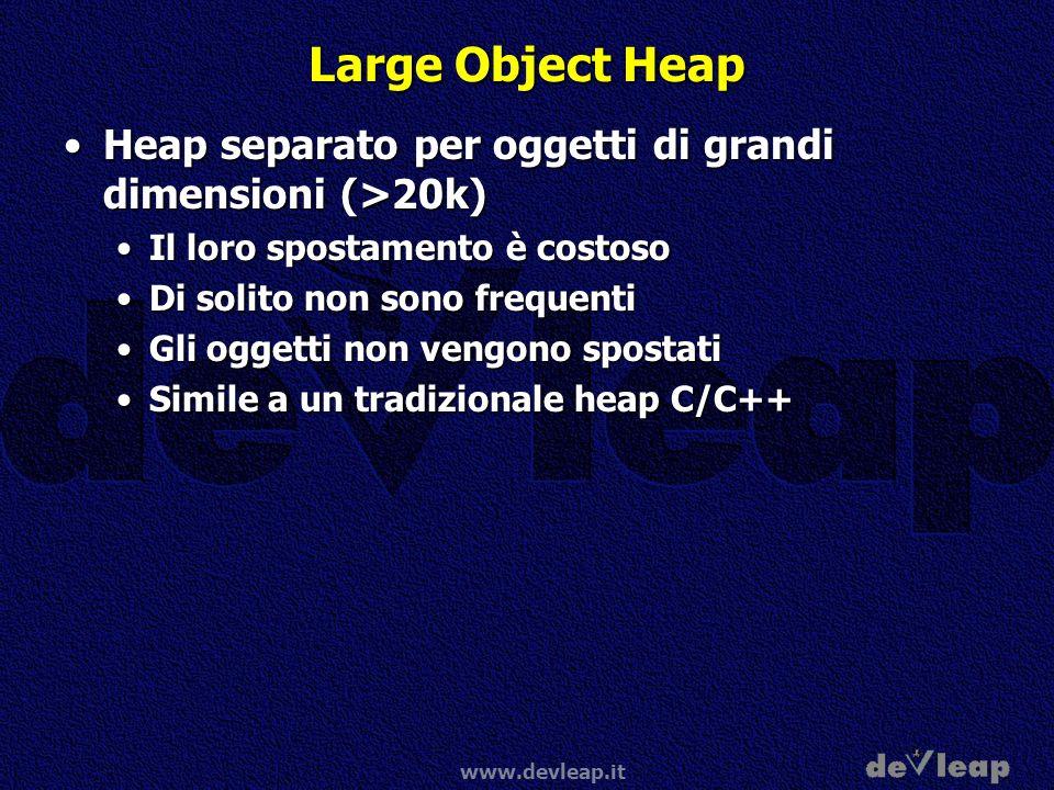 Large Object Heap Heap separato per oggetti di grandi dimensioni (>20k) Il loro spostamento è costoso.