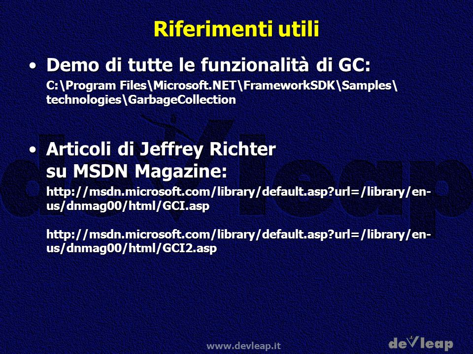 Riferimenti utili Demo di tutte le funzionalità di GC: