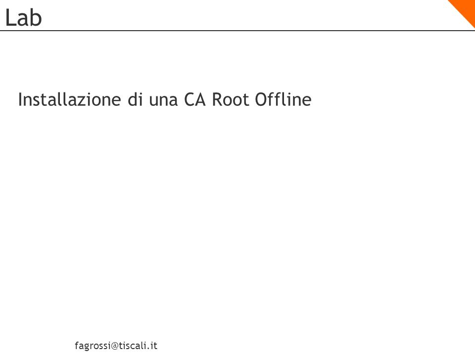 Lab Installazione di una CA Root Offline