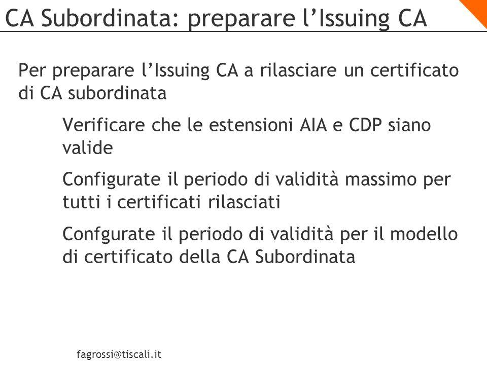 CA Subordinata: preparare l'Issuing CA