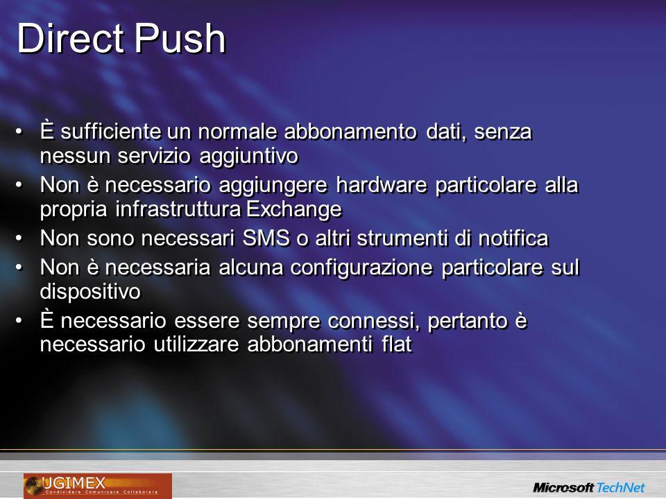 Direct Push È sufficiente un normale abbonamento dati, senza nessun servizio aggiuntivo.